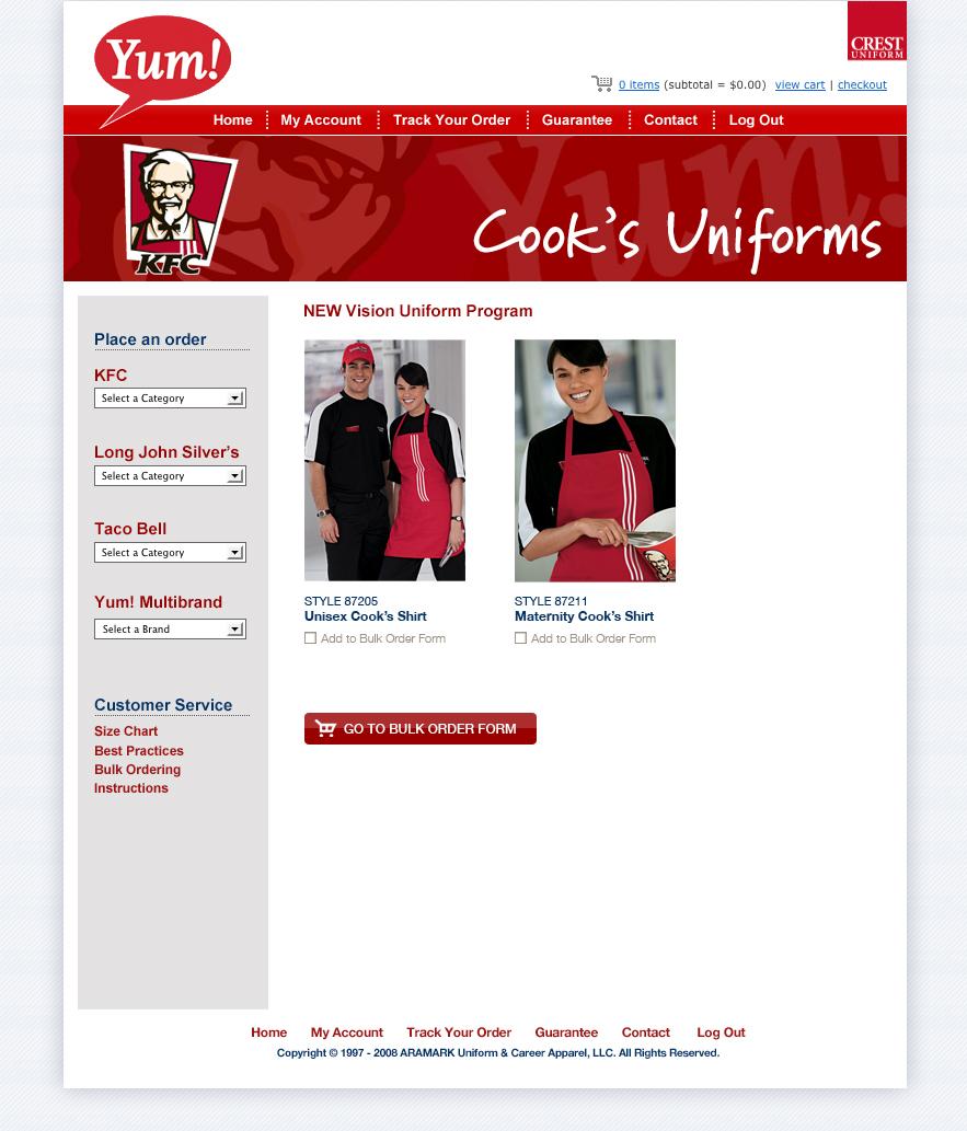 Yum brands apparel program website design r i c h k e o u g h d e s